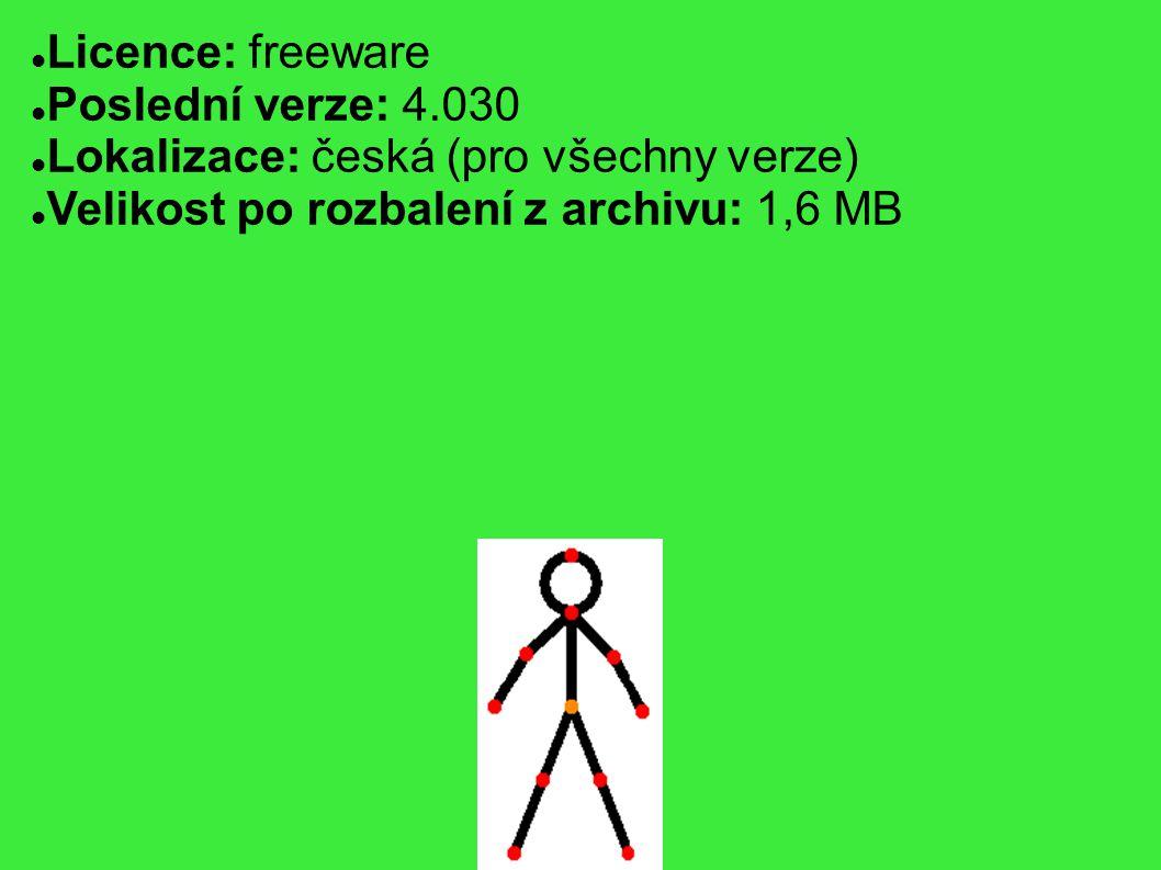 Licence: freeware Poslední verze: 4.030 Lokalizace: česká (pro všechny verze) Velikost po rozbalení z archivu: 1,6 MB
