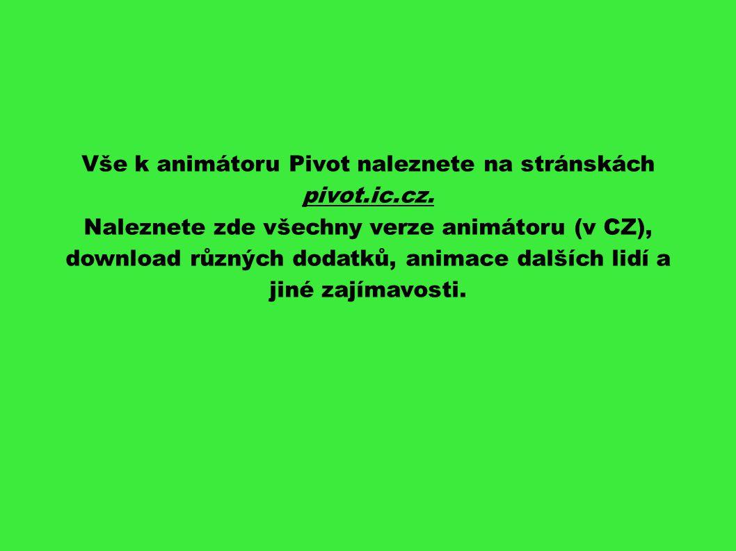 Vše k animátoru Pivot naleznete na stránskách pivot.ic.cz.