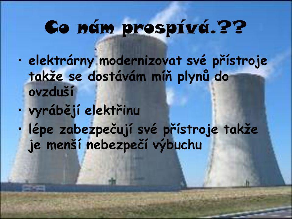 Co nám prospívá.?? elektrárny modernizovat své přístroje takže se dostávám míň plynů do ovzduší vyrábějí elektřinu lépe zabezpečují své přístroje takž