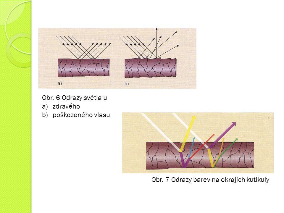 Obr. 6 Odrazy světla u a)zdravého b)poškozeného vlasu Obr. 7 Odrazy barev na okrajích kutikuly