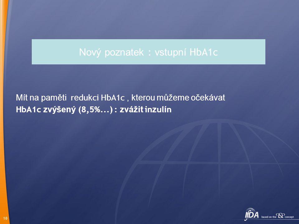 10 Nový poznatek : vstupní HbA1c Mít na paměti r e du k ci HbA1c, kterou můžeme očekávat HbA1c zvýšený (8,5%...) : zvážit in z ul í n