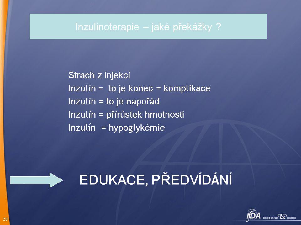 20 Inzulinoterapie – jaké překážky ? Strach z injekcí In zu l ín = to je konec = k ompli k a ce In zu l ín = to je napořád In zu l ín = přírůstek hmot