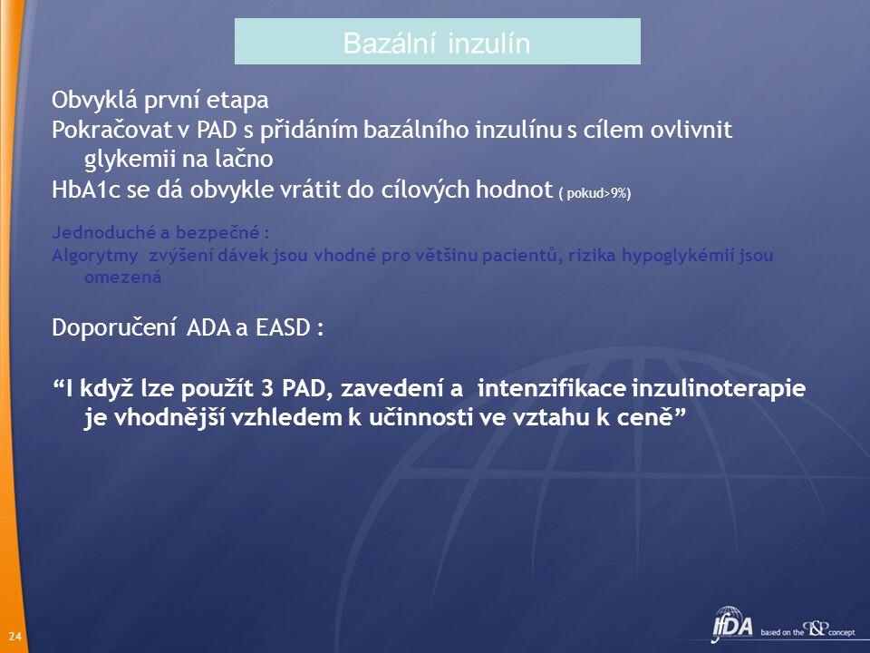 24 Bazální inzulín Obvyklá první etapa Pokračovat v PAD s přidáním bazálního inzulínu s cílem ovlivnit glykemii na lačno HbA1c se dá obvykle vrátit do