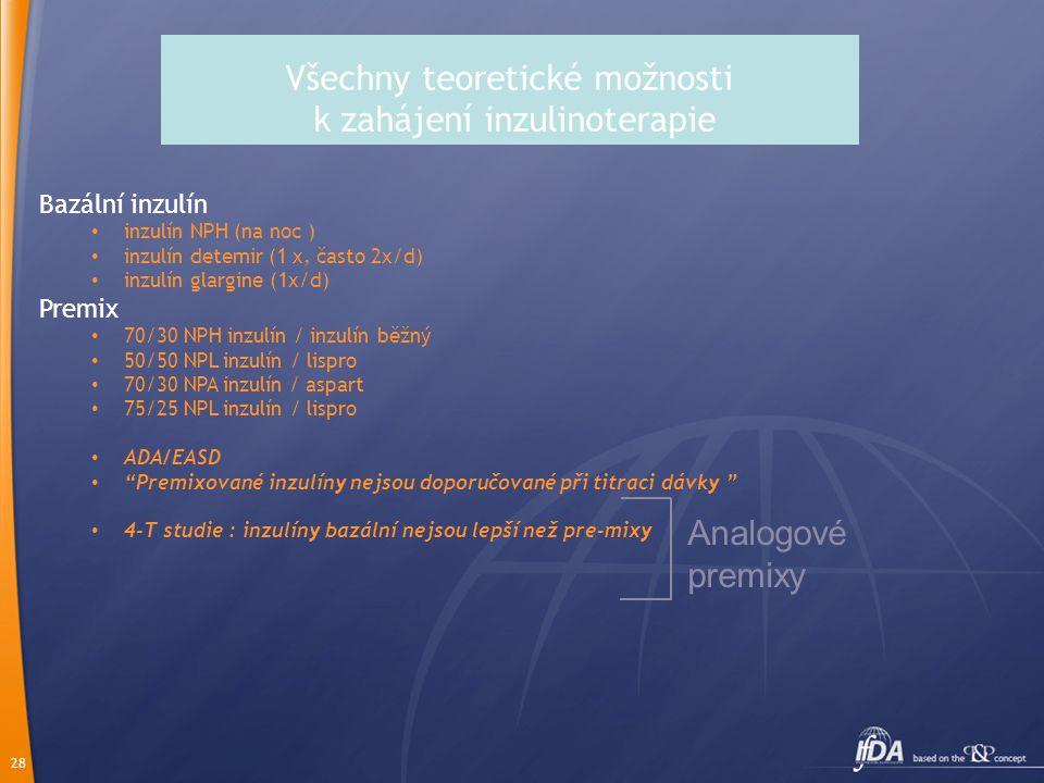 28 Všechny teoretické možnosti k zahájení inzulinoterapie Bazální inzulín inzulín NPH (na noc ) inzulín detemir (1 x, často 2x/d) inzulín glargine (1x
