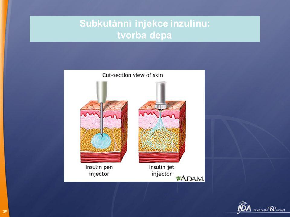 39 Subkutánní injekce inzulínu: tvorba depa