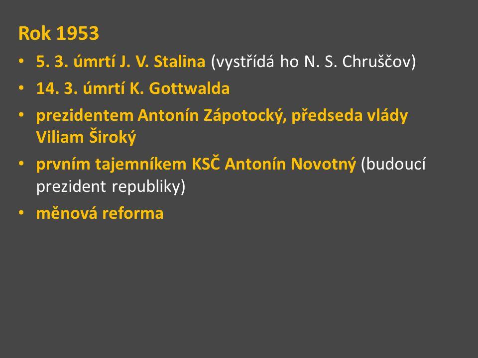 Rok 1953 5. 3. úmrtí J. V. Stalina (vystřídá ho N. S. Chruščov) 14. 3. úmrtí K. Gottwalda prezidentem Antonín Zápotocký, předseda vlády Viliam Široký