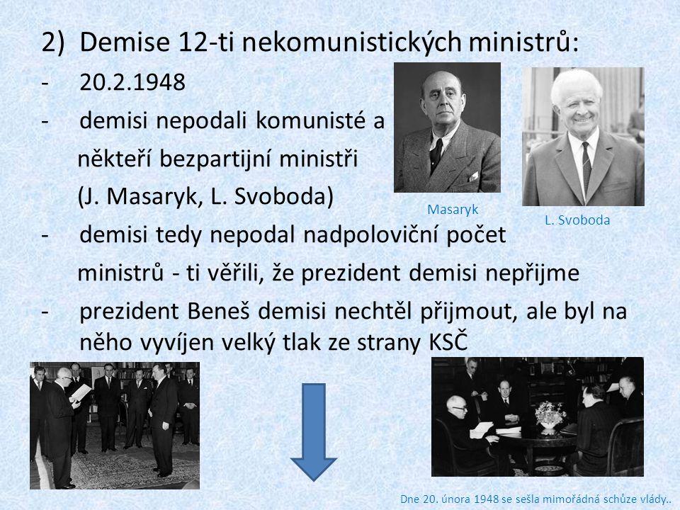 3)Tlak na prezidenta Beneše: -shromáždění na Staroměstském náměstí v Praze -sjezd závodních rad požadoval další znárodnění a přijetí demise -v továrnách byly vytvořeny lidové milice -jednohodinová generální stávka 25.2.
