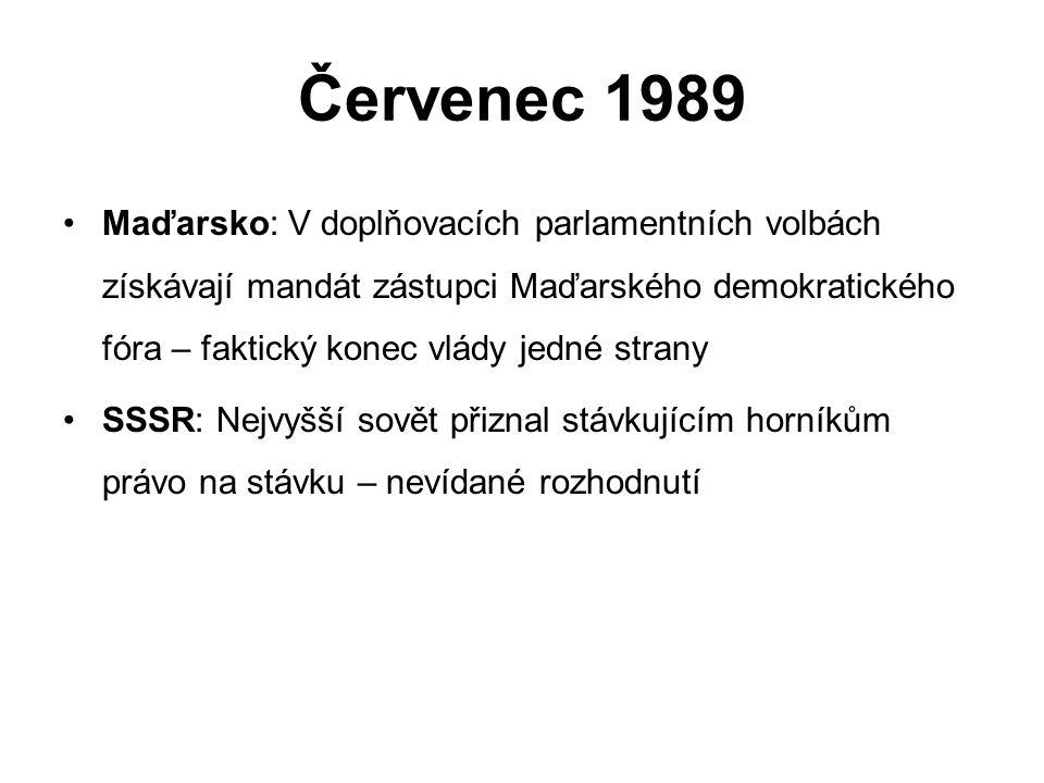 Červenec 1989 Maďarsko: V doplňovacích parlamentních volbách získávají mandát zástupci Maďarského demokratického fóra – faktický konec vlády jedné strany SSSR: Nejvyšší sovět přiznal stávkujícím horníkům právo na stávku – nevídané rozhodnutí
