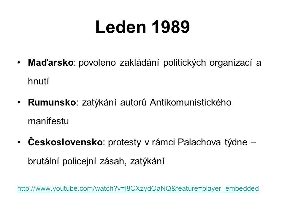 Leden 1989 Maďarsko: povoleno zakládání politických organizací a hnutí Rumunsko: zatýkání autorů Antikomunistického manifestu Československo: protesty v rámci Palachova týdne – brutální policejní zásah, zatýkání http://www.youtube.com/watch?v=l8CXzydOaNQ&feature=player_embedded
