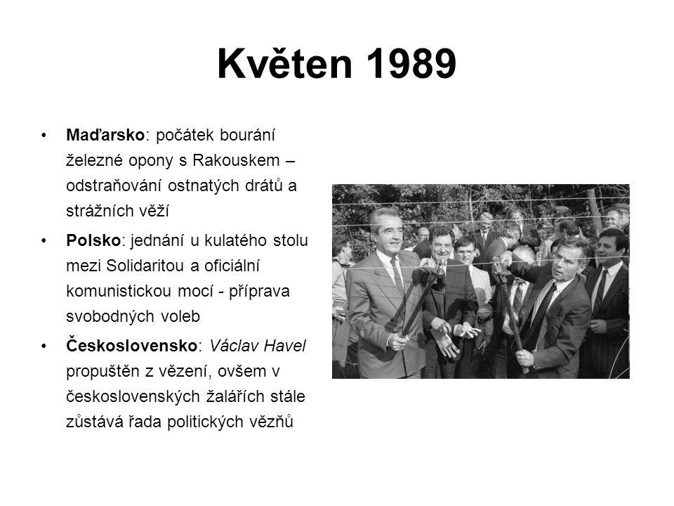 Květen 1989 Maďarsko: počátek bourání železné opony s Rakouskem – odstraňování ostnatých drátů a strážních věží Polsko: jednání u kulatého stolu mezi Solidaritou a oficiální komunistickou mocí - příprava svobodných voleb Československo: Václav Havel propuštěn z vězení, ovšem v československých žalářích stále zůstává řada politických vězňů