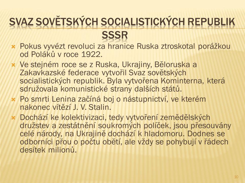  Pokus vyvézt revoluci za hranice Ruska ztroskotal porážkou od Poláků v roce 1922.