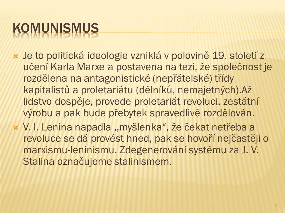  Je to politická ideologie vzniklá v polovině 19.