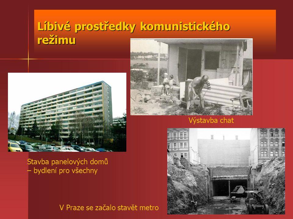Líbivé prostředky komunistického režimu Stavba panelových domů – bydlení pro všechny Výstavba chat V Praze se začalo stavět metro