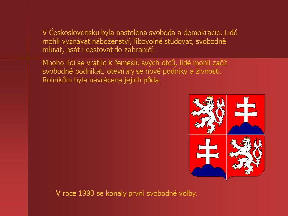 V Československu byla nastolena svoboda a demokracie. Lidé mohli vyznávat náboženství, libovolně studovat, svobodně mluvit, psát i cestovat do zahrani