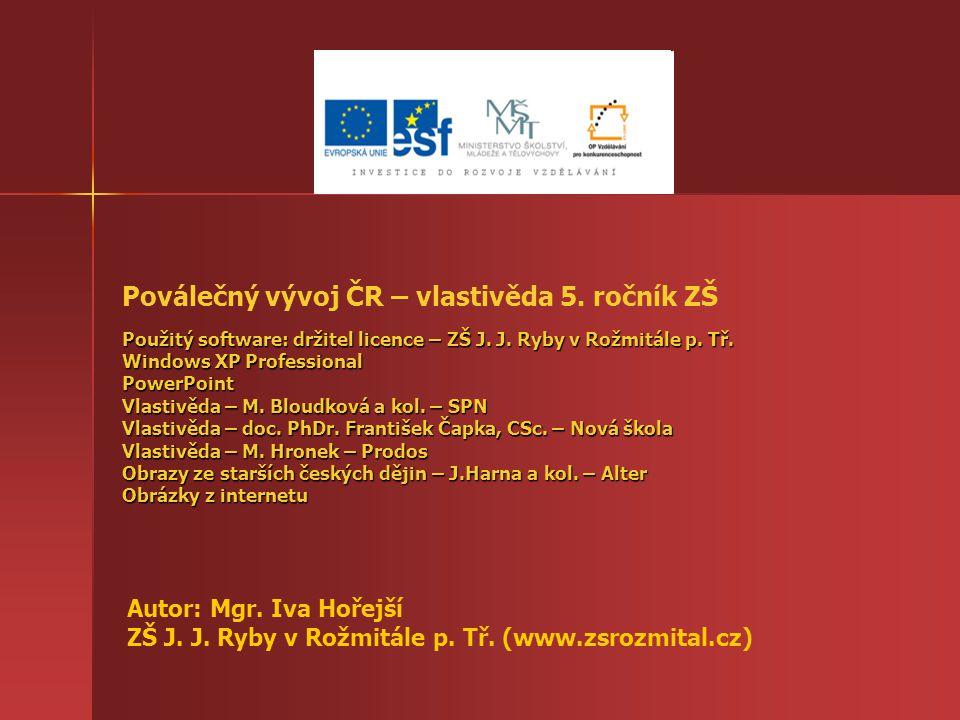 Použitý software: držitel licence – ZŠ J. J. Ryby v Rožmitále p. Tř. Windows XP Professional PowerPoint Vlastivěda – M. Bloudková a kol. – SPN Vlastiv
