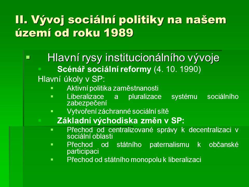 II. Vývoj sociální politiky na našem území od roku 1989  Hlavní rysy institucionálního vývoje   Scénář sociální reformy (4. 10. 1990) Hlavní úkoly