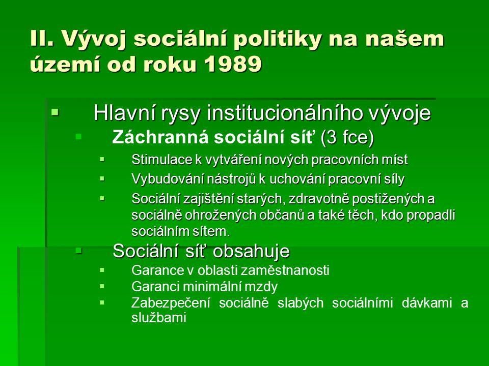 II. Vývoj sociální politiky na našem území od roku 1989  Hlavní rysy institucionálního vývoje  (3 fce)  Záchranná sociální síť (3 fce)  Stimulace
