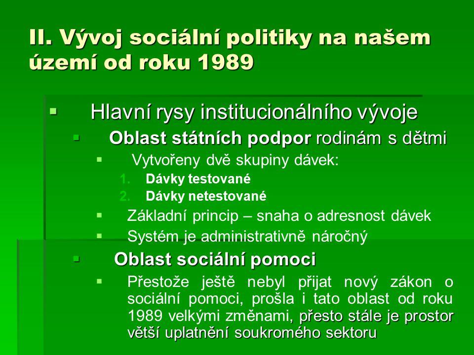 II. Vývoj sociální politiky na našem území od roku 1989  Hlavní rysy institucionálního vývoje  Oblast státních podpor rodinám s dětmi   Vytvořeny