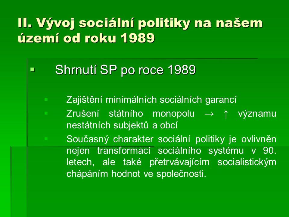 II. Vývoj sociální politiky na našem území od roku 1989  Shrnutí SP po roce 1989   Zajištění minimálních sociálních garancí   Zrušení státního mo