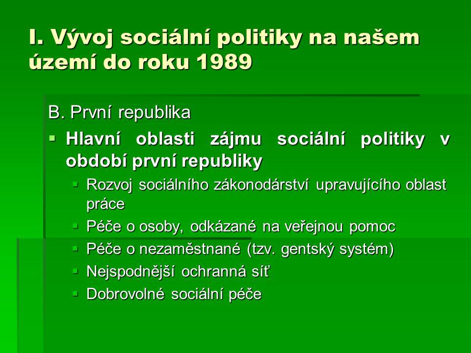 I. Vývoj sociální politiky na našem území do roku 1989 B. První republika  Hlavní oblasti zájmu sociální politiky v období první republiky  Rozvoj s