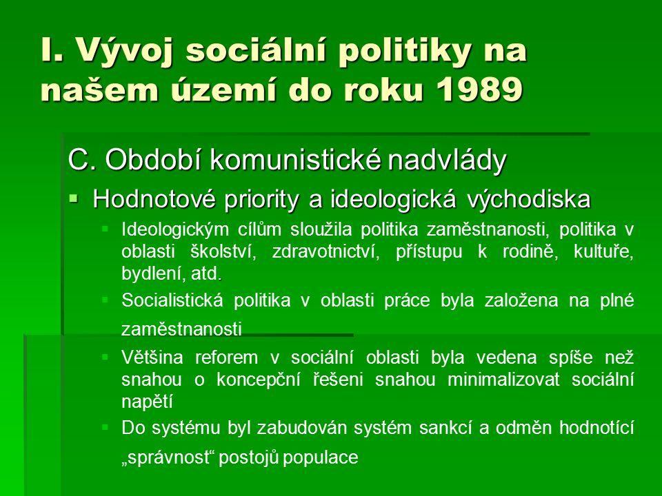 I. Vývoj sociální politiky na našem území do roku 1989 C. Období komunistické nadvlády  Hodnotové priority a ideologická východiska .  Ideologickým