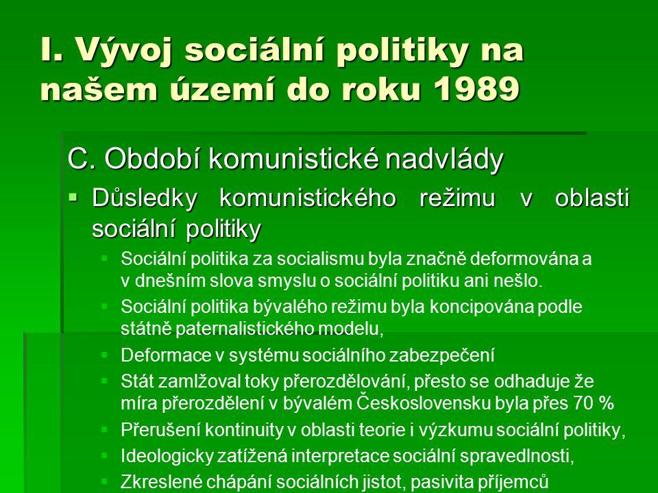 I. Vývoj sociální politiky na našem území do roku 1989 C. Období komunistické nadvlády  Důsledky komunistického režimu v oblasti sociální politiky 