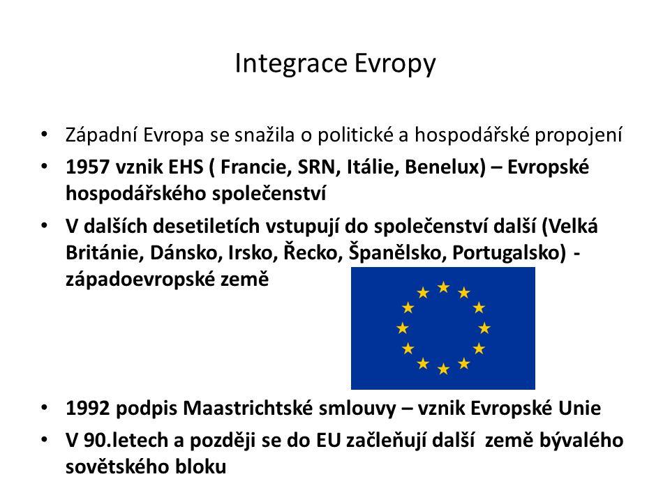 Integrace Evropy Západní Evropa se snažila o politické a hospodářské propojení 1957 vznik EHS ( Francie, SRN, Itálie, Benelux) – Evropské hospodářského společenství V dalších desetiletích vstupují do společenství další (Velká Británie, Dánsko, Irsko, Řecko, Španělsko, Portugalsko) - západoevropské země 1992 podpis Maastrichtské smlouvy – vznik Evropské Unie V 90.letech a později se do EU začleňují další země bývalého sovětského bloku