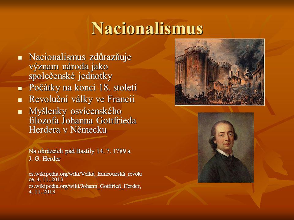 Nacionalismus Nacionalismus zdůrazňuje význam národa jako společenské jednotky Nacionalismus zdůrazňuje význam národa jako společenské jednotky Počátky na konci 18.