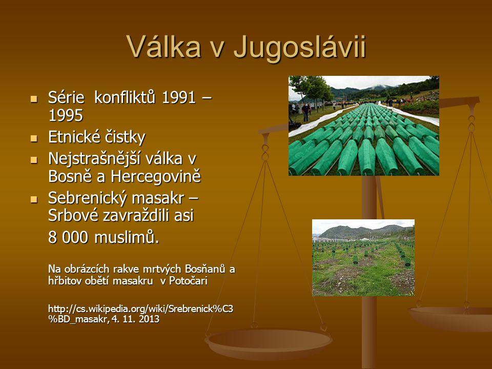 Válka v Jugoslávii Série konfliktů 1991 – 1995 Série konfliktů 1991 – 1995 Etnické čistky Etnické čistky Nejstrašnější válka v Bosně a Hercegovině Nejstrašnější válka v Bosně a Hercegovině Sebrenický masakr – Srbové zavraždili asi Sebrenický masakr – Srbové zavraždili asi 8 000 muslimů.
