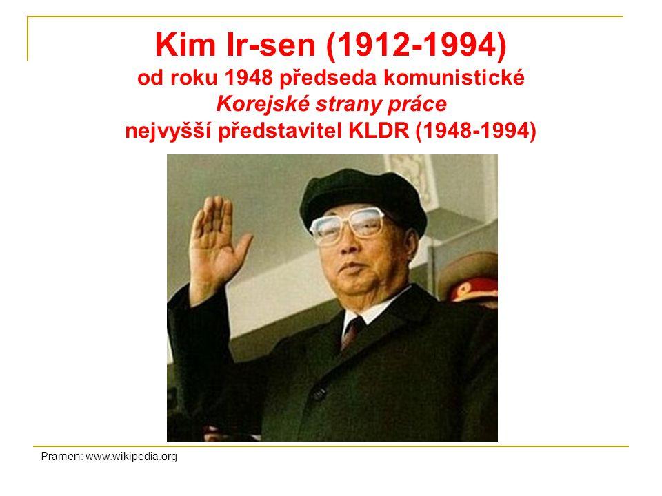 Kim Ir-sen (1912-1994) od roku 1948 předseda komunistické Korejské strany práce nejvyšší představitel KLDR (1948-1994) Pramen: www.wikipedia.org