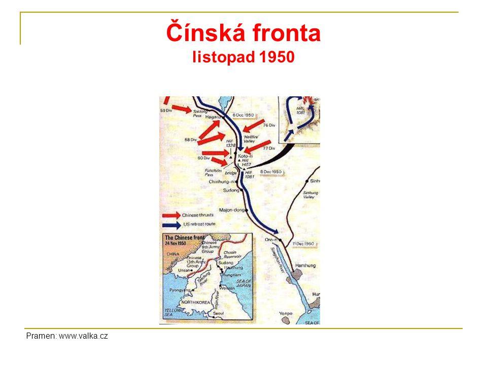 Čínská fronta listopad 1950 Pramen: www.valka.cz