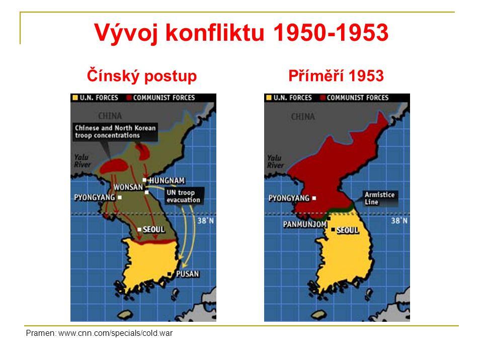 Korejská válka Válečné operace 1950Válečné operace 1951-1953 Pramen: Mandelová, H.