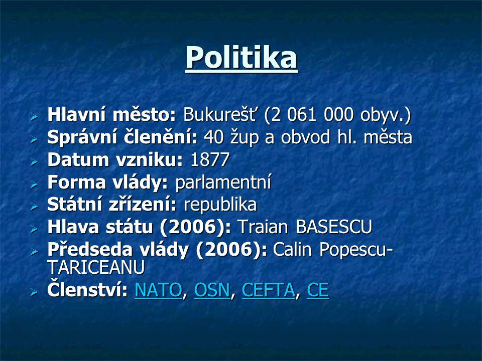 Politika  Hlavní město: Bukurešť (2 061 000 obyv.)  Správní členění: 40 žup a obvod hl. města  Datum vzniku: 1877  Forma vlády: parlamentní  Form