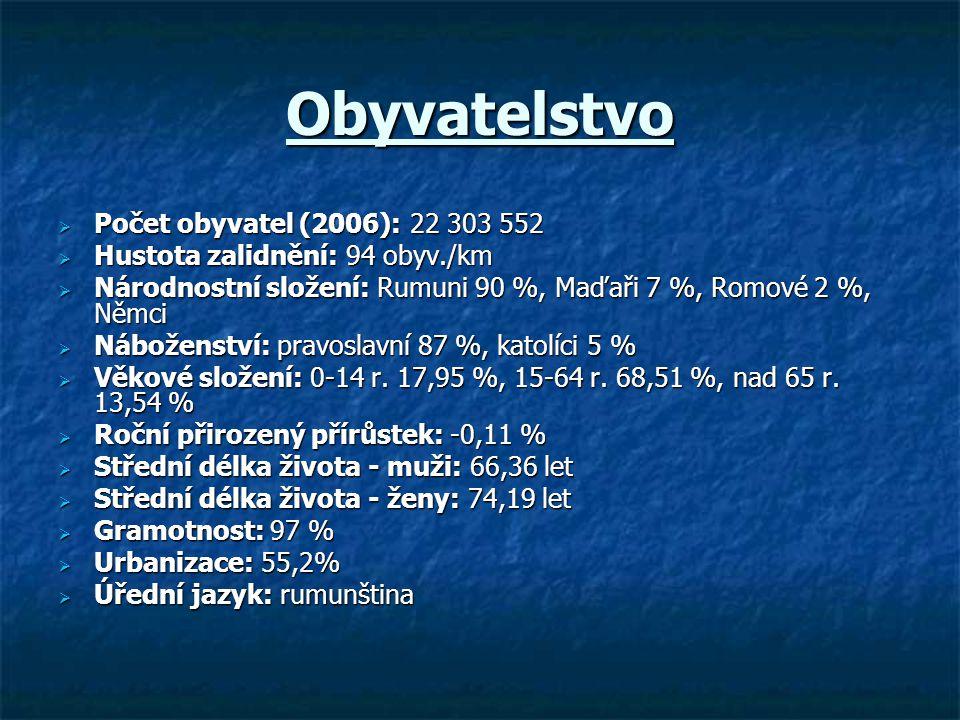 Obyvatelstvo  Počet obyvatel (2006): 22 303 552  Hustota zalidnění: 94 obyv./km  Národnostní složení: Rumuni 90 %, Maďaři 7 %, Romové 2 %, Němci 