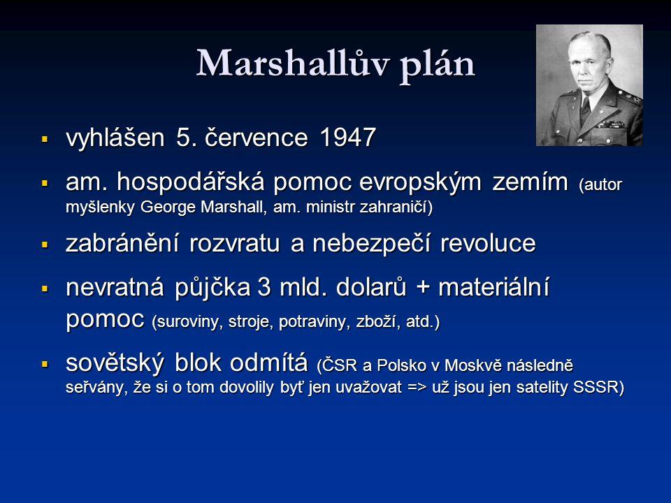 Marshallův plán  vyhlášen 5. července 1947  am. hospodářská pomoc evropským zemím (autor myšlenky George Marshall, am. ministr zahraničí)  zabráněn