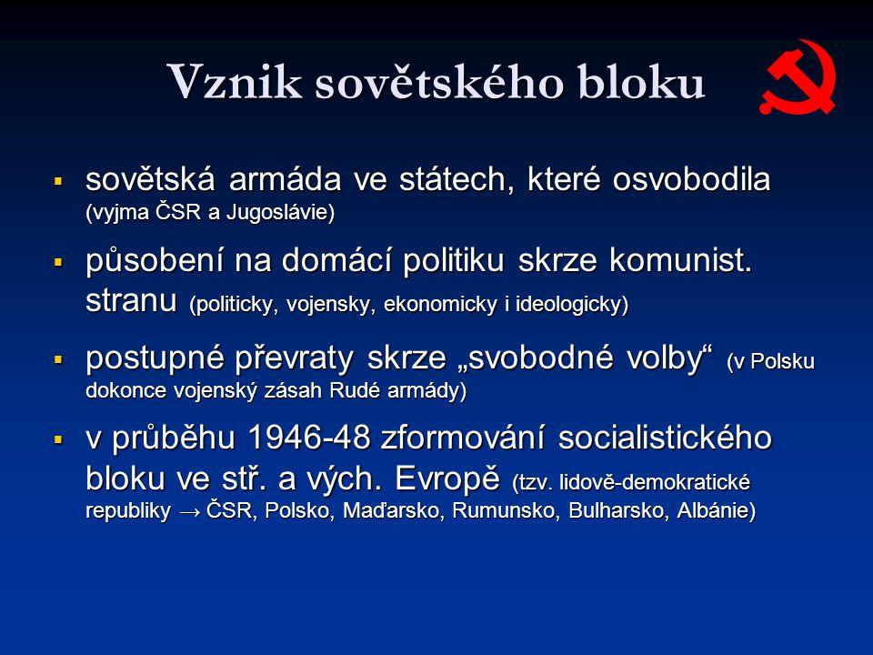 Vznik sovětského bloku  sovětská armáda ve státech, které osvobodila (vyjma ČSR a Jugoslávie)  působení na domácí politiku skrze komunist. stranu (p