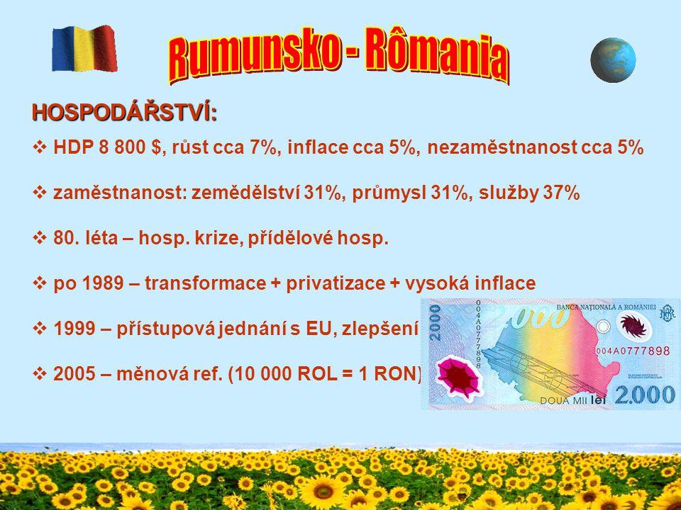OBYVATELSTVO:  náboženství  rumunská pravoslavná církev 86,7%  Maďaři – katolíci, Němci – protestanti  nízký stupeň urbanizace (52,7%)  mladá populace (soc.
