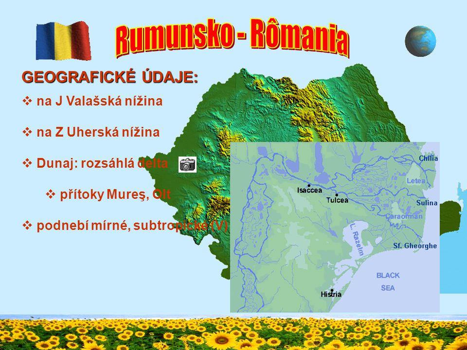 GEOGRAFICKÉ ÚDAJE:  Karpaty - pásemné pohoří alpinského stáří  Jižní Karpaty (Fagaraše - Moldoveanu 2 544 mnm)  Západní Karpaty (Apuseni)  Východní Karpaty (Rodna)  uvnitř oblouku Sedmihradsko
