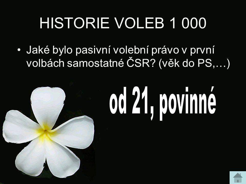 HISTORIE VOLEB 1 000 Jaké bylo pasivní volební právo v první volbách samostatné ČSR? (věk do PS,…)