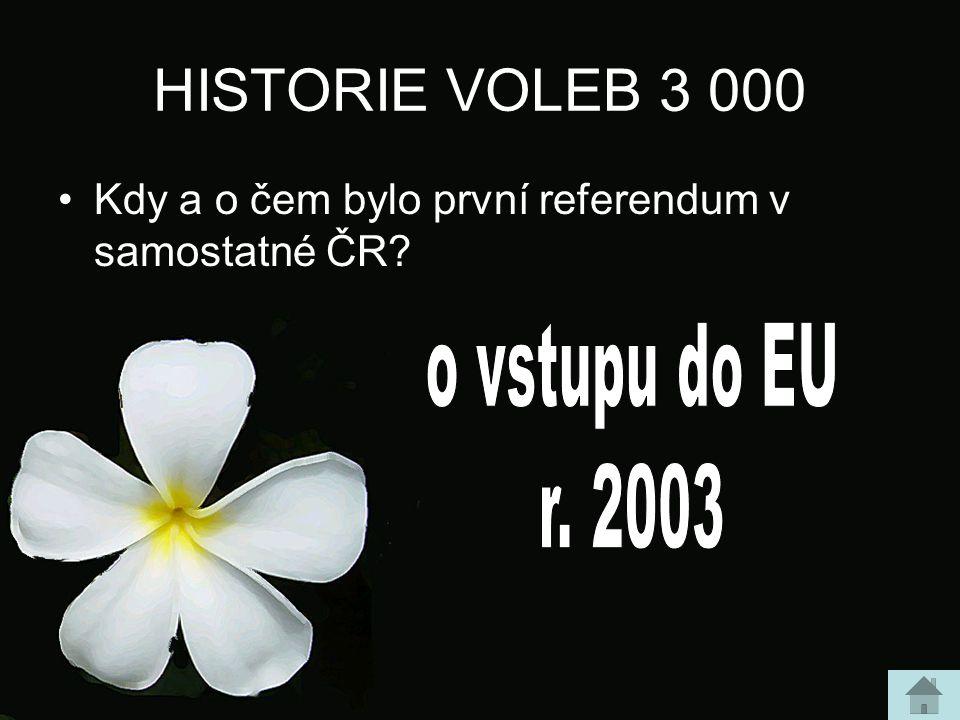 HISTORIE VOLEB 3 000 Kdy a o čem bylo první referendum v samostatné ČR