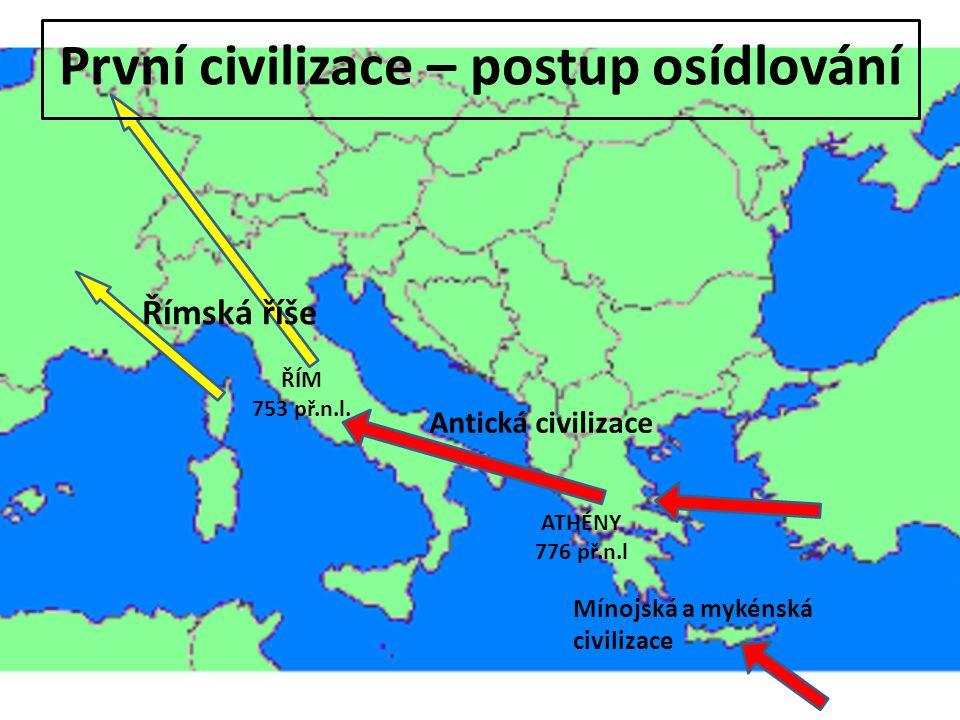 První civilizace – postup osídlování Mínojská a mykénská civilizace Antická civilizace ATHÉNY 776 př.n.l ŘÍM 753 př.n.l.