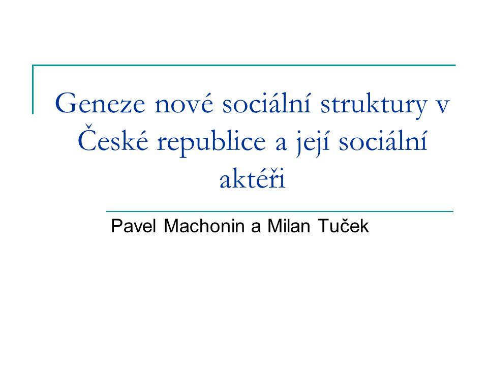 Geneze nové sociální struktury v České republice a její sociální aktéři Pavel Machonin a Milan Tuček