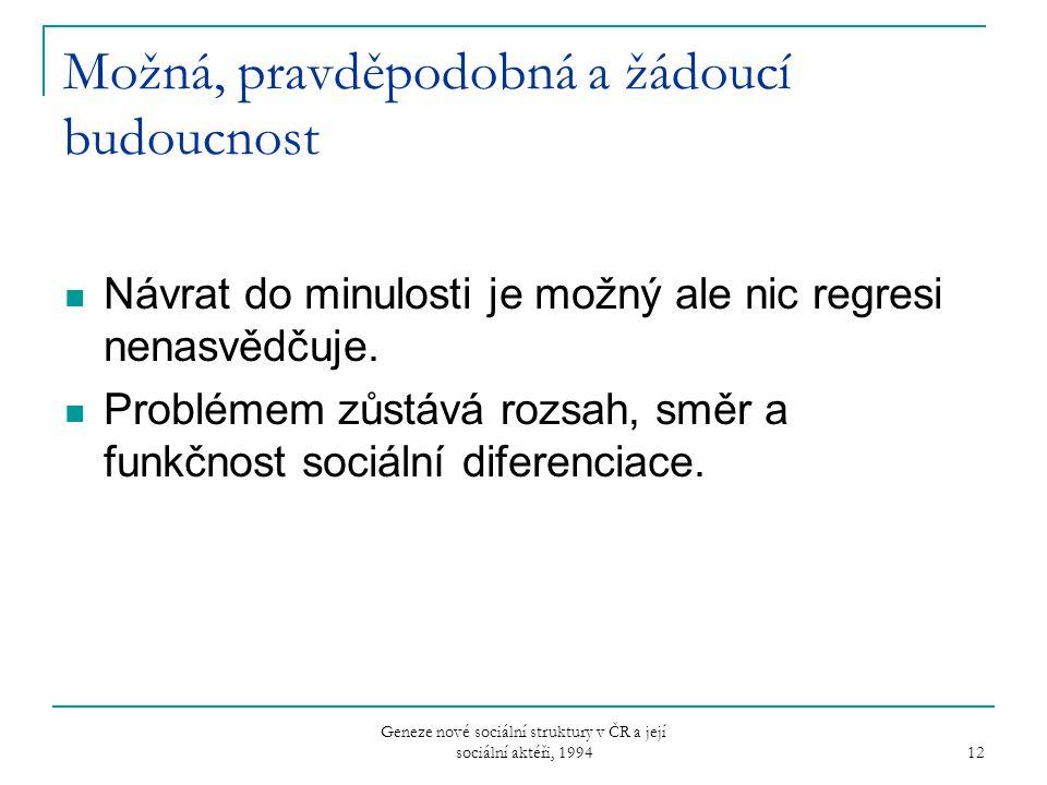 Geneze nové sociální struktury v ČR a její sociální aktéři, 1994 12 Možná, pravděpodobná a žádoucí budoucnost Návrat do minulosti je možný ale nic reg