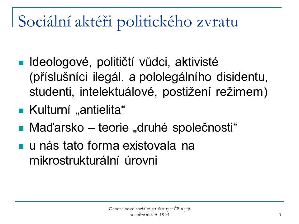 Geneze nové sociální struktury v ČR a její sociální aktéři, 1994 3 Sociální aktéři politického zvratu Ideologové, političtí vůdci, aktivisté (příslušn