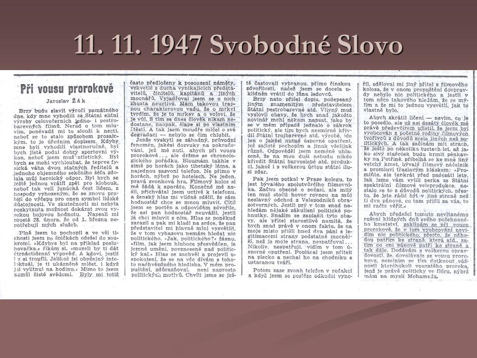 11. 11. 1947 Svobodné Slovo