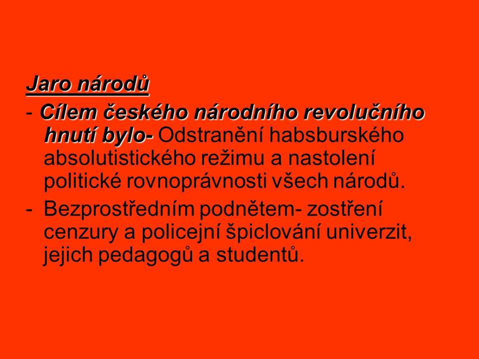Jaro národů Cílem českého národního revolučního hnutí bylo- - Cílem českého národního revolučního hnutí bylo- Odstranění habsburského absolutistického