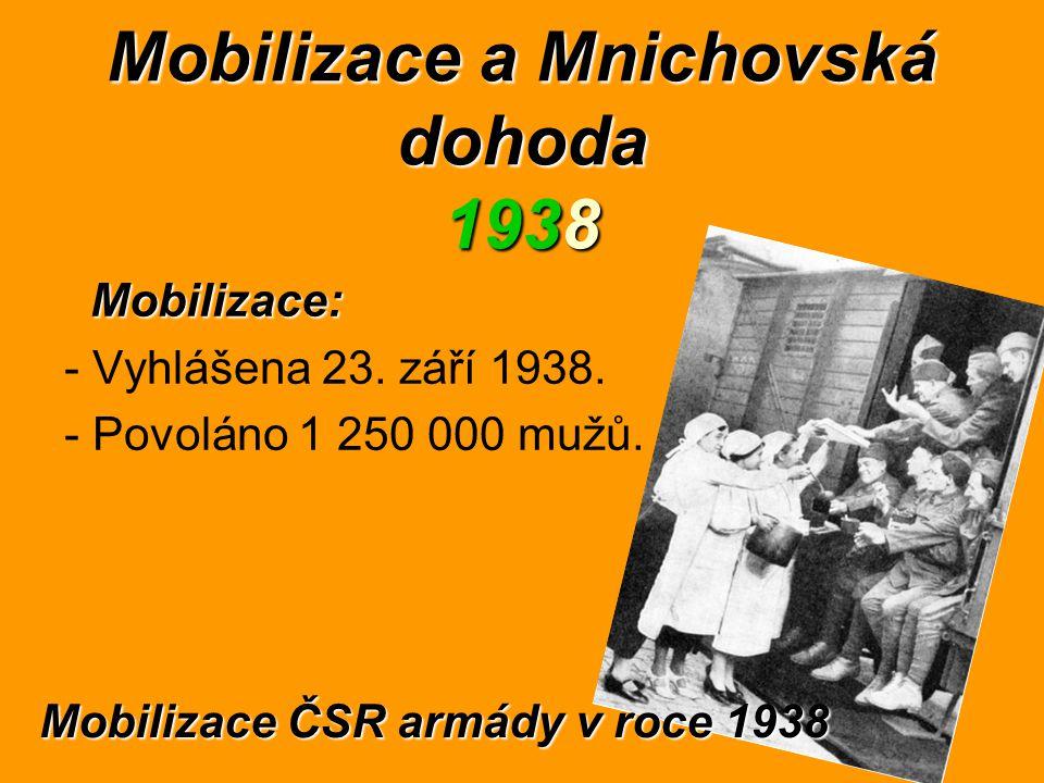 Mobilizace a Mnichovská dohoda 1938 Mobilizace: - Vyhlášena 23. září 1938. - Povoláno 1 250 000 mužů. Mobilizace ČSR armády v roce 1938