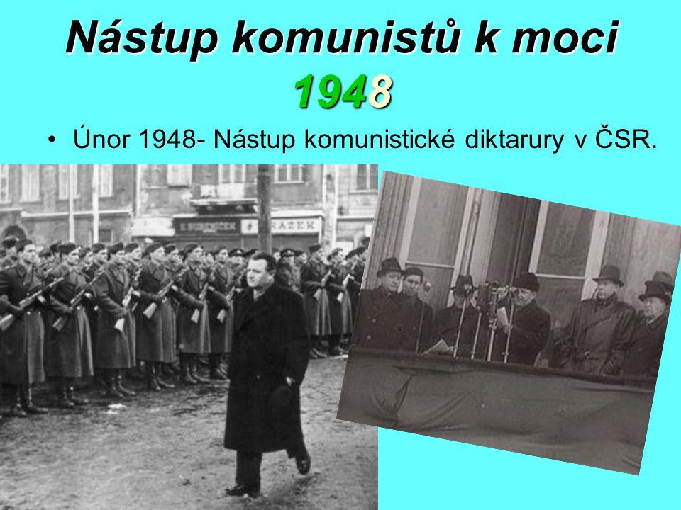 Nástup komunistů k moci 1948 Únor 1948- Nástup komunistické diktarury v ČSR.