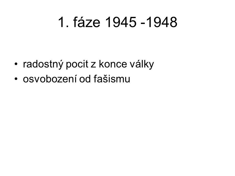 1. fáze 1945 -1948 radostný pocit z konce války osvobození od fašismu