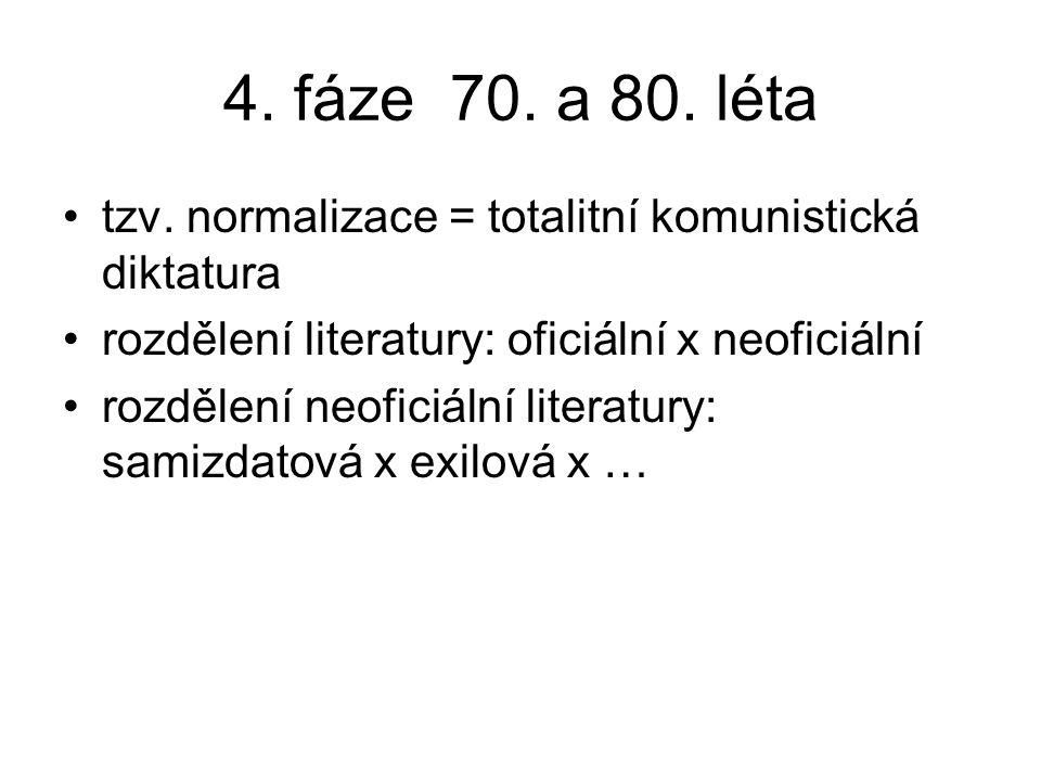 4. fáze 70. a 80. léta tzv. normalizace = totalitní komunistická diktatura rozdělení literatury: oficiální x neoficiální rozdělení neoficiální literat